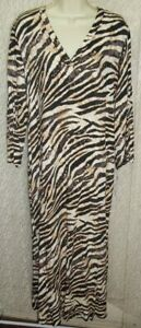 N Natori Large L long woven Pull-On Robe Caftan/Muu Lounger Matte Animal Print