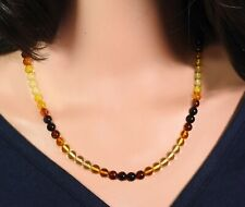Amber Necklace Multicolour Balls With Colour Gradient Natural Jewelry Handmade