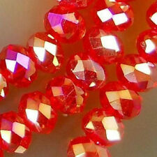 Wholesale! 4x6mm Red AB Crystal Faceted Abacus Loose Bead 100pcs DIY