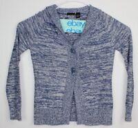 Bay Studio Women's Cardigan Sweater Long Sleeve Blue/White Sz L Two Button Front