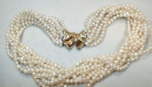 Estate Freshwater Pearl Multi Strand 750 18K Yellow & White Gold Clasp Necklace