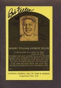 BOB FELLER Indians Hall of Fame Postcard SIGNED d.2010
