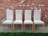 4 X High Back Dining Chairs By NEXT in Cream Suede Effect Fabric