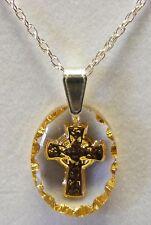 Ciondolo di cristallo con croce celtica, ovale, dipinto a mano, oro