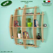 Libreria LUNA in legno acero mensola scaffale a parete muro ufficio studio
