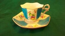 HAND PAINTED CHINA DEMITASSE CUP AND SAUCER FROM JAPAN BLUE & WHITE WITH LEAVES