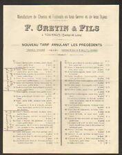 """TOURNUS (71) USINE de SIEGES & CHAISES Paille Canné """"F. CRETIN & Fils"""""""