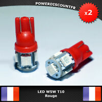 2 Veilleuses ampoules LED W5W T10 Rouge 5 SMD voiture moto