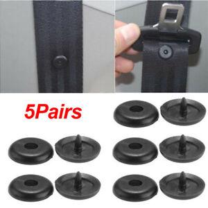 5Pair Black Clip Seat Belt Stopper Buckle Button Fastener Safety Car Accessories