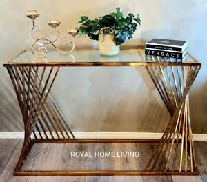 CONSOLE HALLWAY ENTRANCE TABLE STAINLESS STEEL BRASS GOLD WITH GLASS TOP