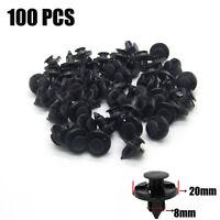 100 Pcs 8mm Agrafes trou plastique rivet panneau de retenue clips garniture