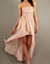 NWT Jump Hi-Lo Strapless Sweetheart Evening Prom Dress Blush/Metallic Gold - 1/2