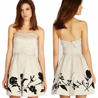 Karen Millen Sequin Flower Strapless Evening Prom Dress Beige Black Womens Sz UK