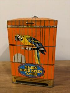 Sharp's Super-Kreem Toffee Tin, Orange & Parrot With Hook Rare & Collectable