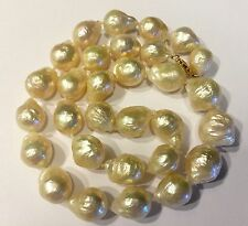 """Baroque White Pearl Beautiful Luster Necklace 18"""" 14k gold 10mm-14mm  Graduated"""