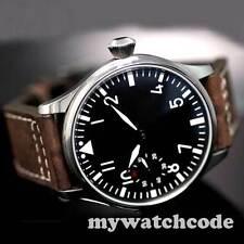 44mm parnis black dial luminous 6497 movement Pilot hand winding mens watch