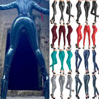 Women High Waisted Faux Leather Leggings Stretch Pants Jeggings Slimming Pants A