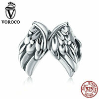 VOROCO 925 Sterling Silver Angel Wing Beads Vintage Charms Fit European Bracelet