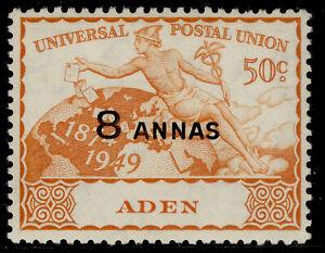 ADEN GVI SG34, 8a on 50c orange UPU, M MINT.