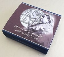 2001 'Victorian Anniversary' Silver Proof £5 Five Pound / Crown. Cased + COA.