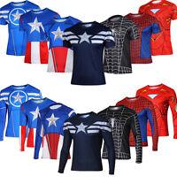 Mens Marvel Superhero T Shirt Fitness Gym SportsCycling Jersey Tee Tops 3D Print