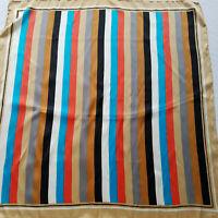 "Vintage Echo Multi-Color Striped Scarf Chinon Azlon/Silk Hand Rolled  27"" x 27"""