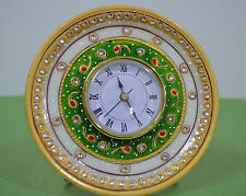 """6"""" White Marble Table Watch Jaipur Hand Crafted Floral Art Decorative Gifts H691"""