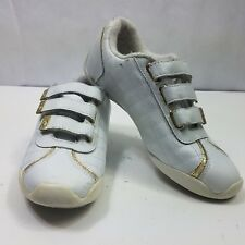 Baby Phat Womens Sneaker White Leather Athletic Shoe Gold Trim Strap Casual 7.5M