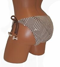 Swimsuit Bikini Bottom L Large Brown NEW Lucky Brand 12 14 Crochet 4412-L