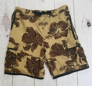 "Wonder Wall Men's Cargo Floral Swim Trunks Hawaiian Surf Shorts Size Large W36"""