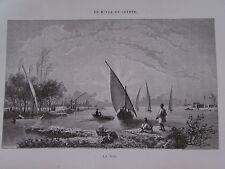 Gravure du XIXè siècle. Egypte. Vue sur le Nil. 1860. Pannemaker.