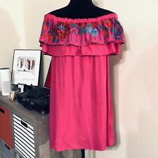 Umgee Embroidered off the Shoulder Tunic Dress M