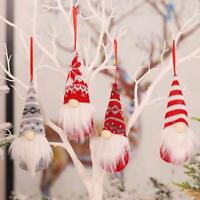 4pcs Christmas Gnome Santa Doll Ornaments Xmas Tree Hanging
