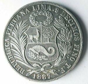 1887 PERU SOL - AU - Rare Early Date Silver Crown Coin - Lot #L27