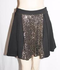 HUNT NO MORE Designer Black Gold Sequins Full Skirt Size 10-S BNWT #SN30
