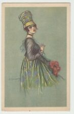 Vintage Fashion Postcard Girl Holding Bouquet of Flowers (Rev. Stampa Milano)
