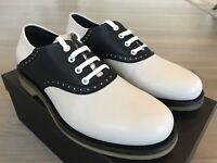 660$ Bottega Veneta Navy-White Leather Shoes size US 10.5, EU 43.5 Made in Italy