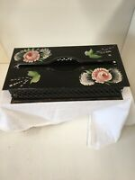 VINTAGE Plymouth Tole hand decorated metal Tissue Kleenex Box floral,very Nice