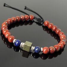 Handmade Braided Bracelet Red Jasper Stone Lapis Pyrite Sterling Silver Beads