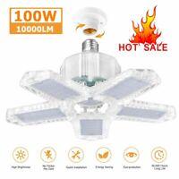 100W LED Garage Light E27 Bulb Deformable Ceiling Fixture Lights Workshop Lamp