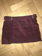 Zara Mini Velvet Belted Purple Skirt