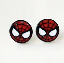 2pcs spider man head metal earring ear stud earrings studs manga  new