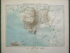 c1890 ANTIQUE MAP ~ CAMEROONS MOUNTAINS & BIGHT OF BIAFRA GULF OF GUINEA