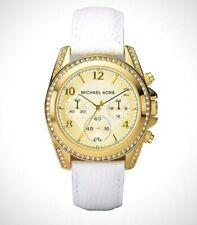 Horloge Femme Michael Kors Chronographe Sangle Blanc Ceinture Acier Or
