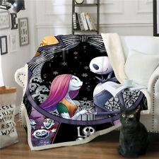 Jack Skellington & Sally Throw Blanket Plush Sofa Bed Sherpa Fleece Blanket Gift