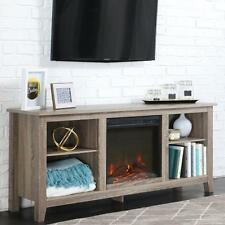 Electric Fireplace TV Stand Driftwood Rustic Media Center Console Storage Heater