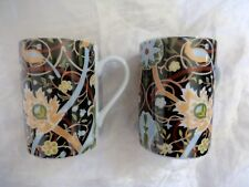 Pair Mugs Waterside fine porcelain china birds foliage 10 cm high