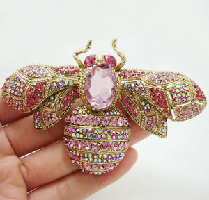 New Beautiful Pink Bee Insect Rhinestone Crystal Gold-tone Brooch Pin Pendant