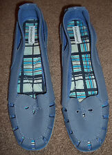 GRASSHOPPERS Womens Blue Canv Cut Out Wedge Heel EspadrilleLoafer Shoe 11 FreeSh