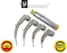 Macintosh Fiber Optic Laryngoscope Set 4 Nos. LED Light Gold Handle free ship